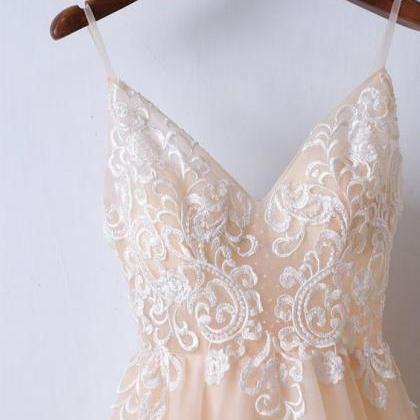 Champagne Lace Long Prom Dress With..