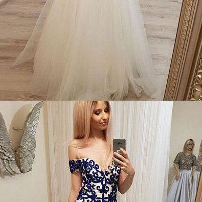 Unique sweetheart lace tulle long p..