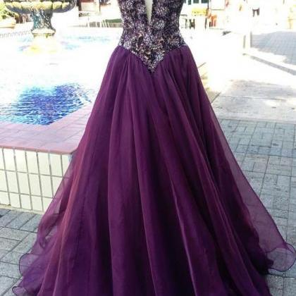 unique v neck purple beads tulle l..