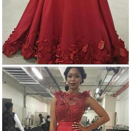 New Burgundy Prom Dresses Jewel Ne..