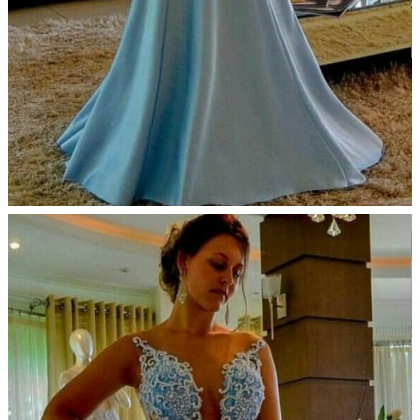 Arabic Sky Blue Mermaid Prom Dresse..