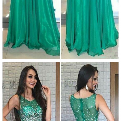 New Crystal Green Prom Dresses Jewe..