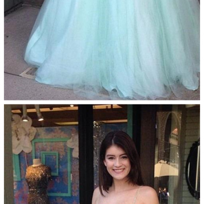 Two Pieces Mint Green Prom Dresses ..