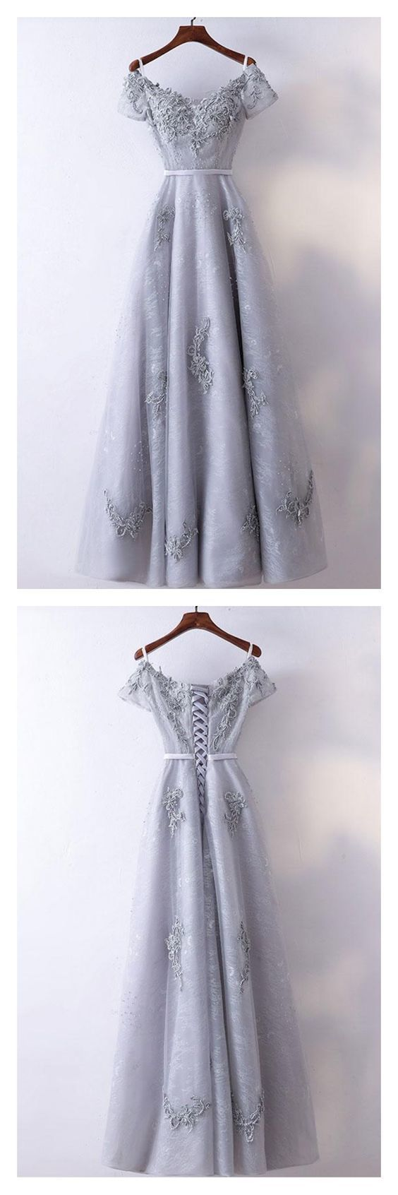 Light Grey V-neck Long Lace Prom Dresses with Short Sleeves