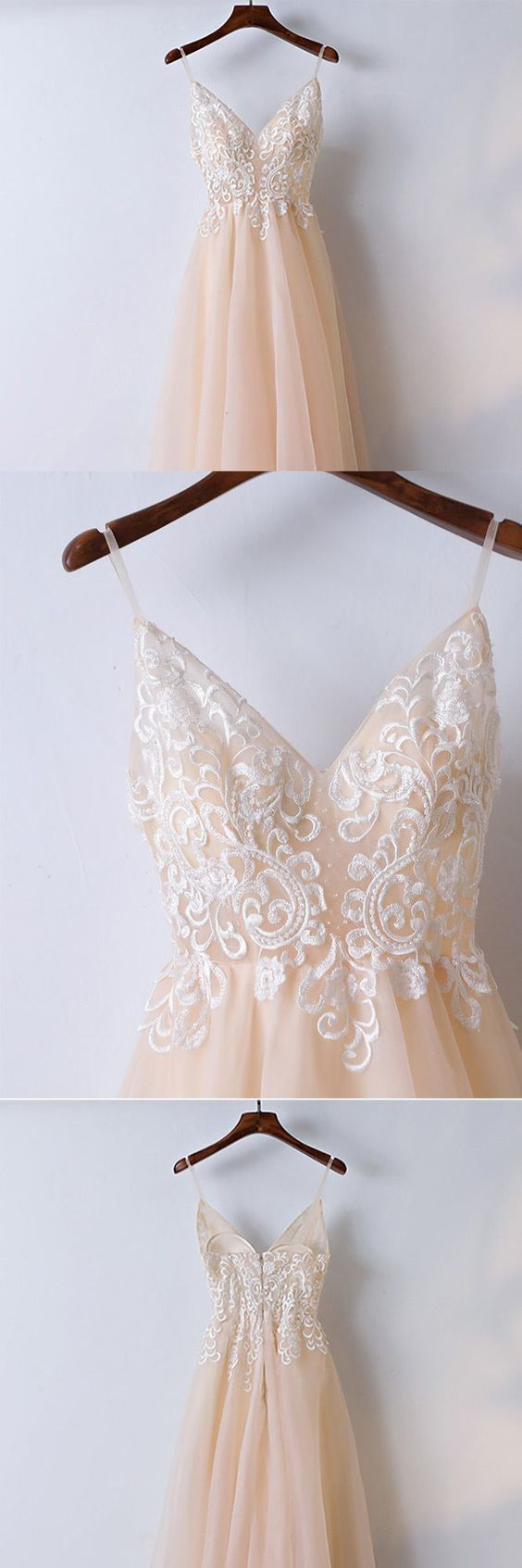 Champagne Lace Long Prom Dress With Spaghetti Straps