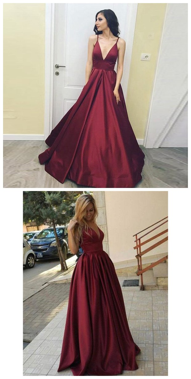 A-Line Deep V-Neck Sleeveless Floor-Length Burgundy Satin Prom Dress ... f777befd1