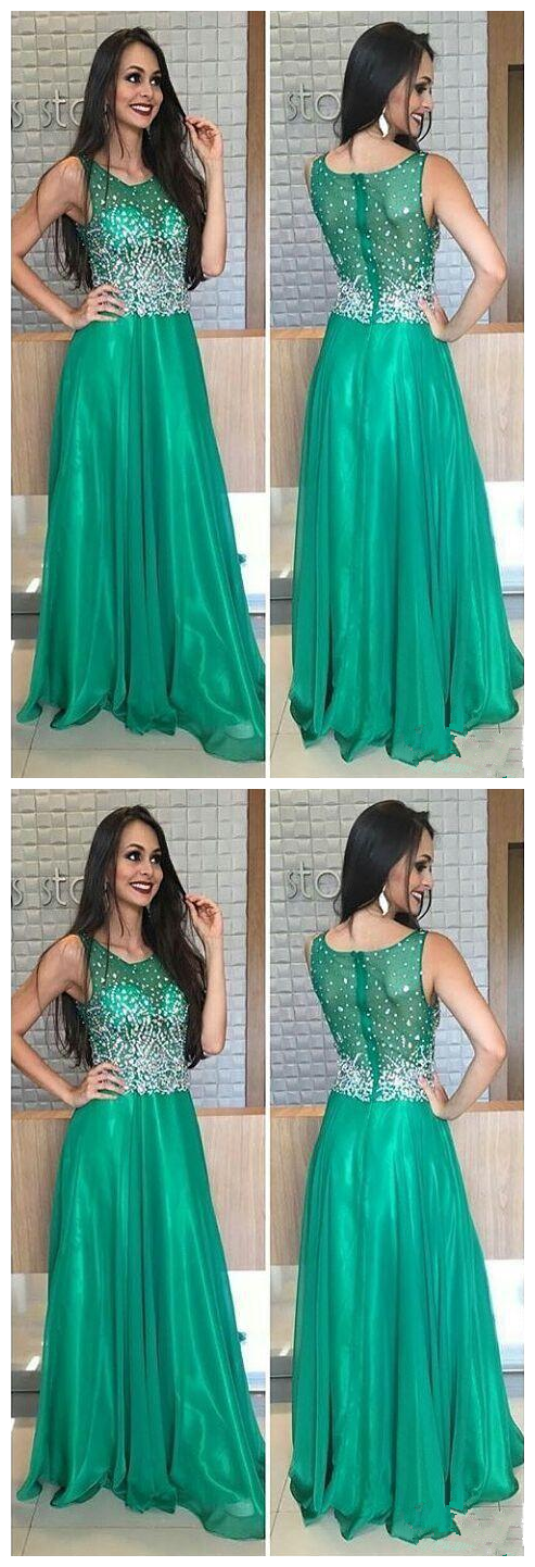 New Crystal Green Prom Dresses Jewel Beaded A Line Long Modest Formal Evening Party Pageant Woman Dress Gowns Cheap Custom Made