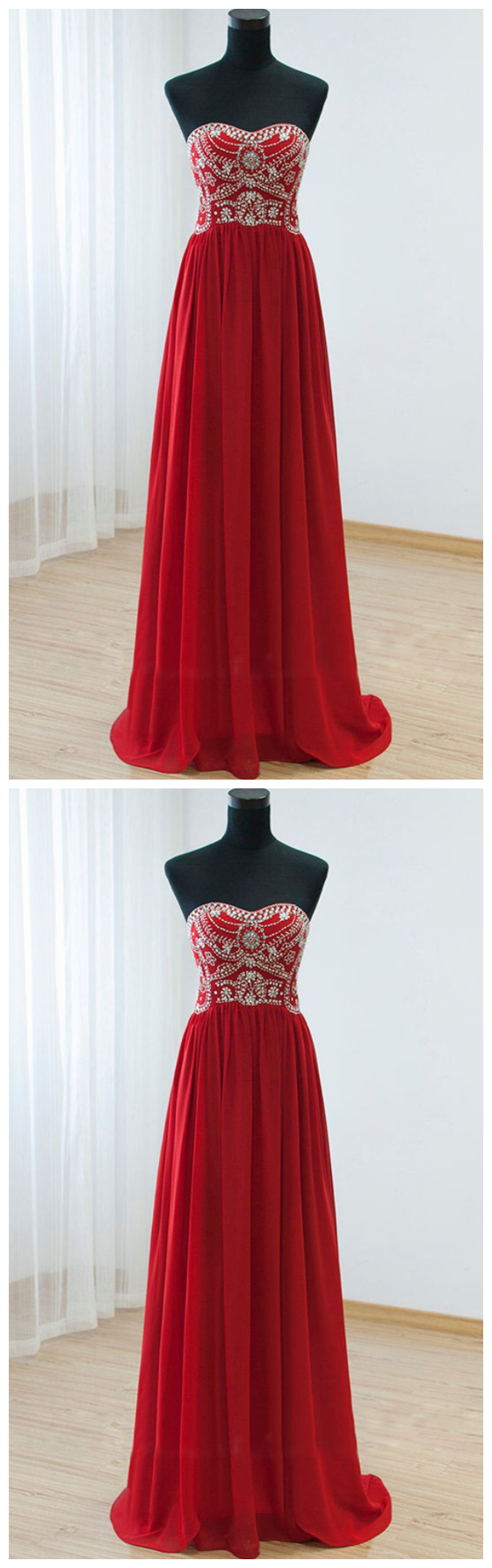 Empire Waist Red Backless Sexy Long Prom Evening Dress