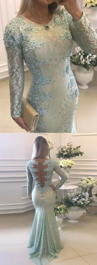 Lace Mermaid Evening Dress, Long Sleeve Appliques Mermaid Prom Dress, Formal Women Dress