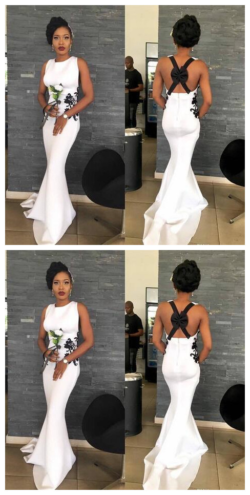 Sexy Backless Woth Bow Evening Party Gowns Black Girl Bridesmaid Wear Boho Beach