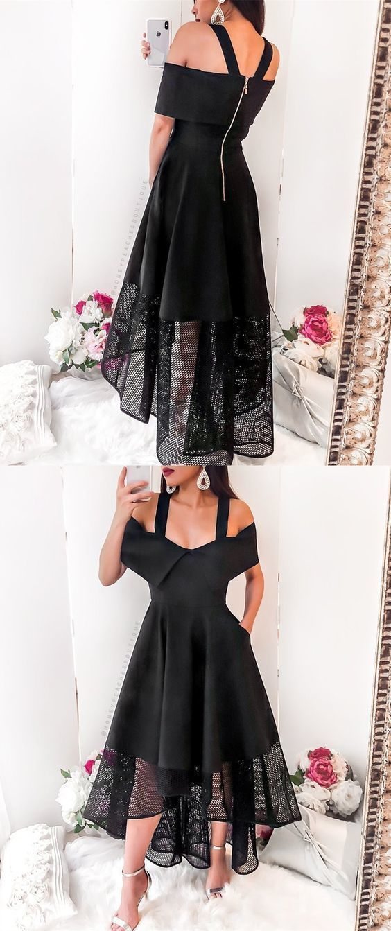0bf78077cc3f Sexy A-Line Cold Shoulder High Low Black Homecoming Dress With Lace ...
