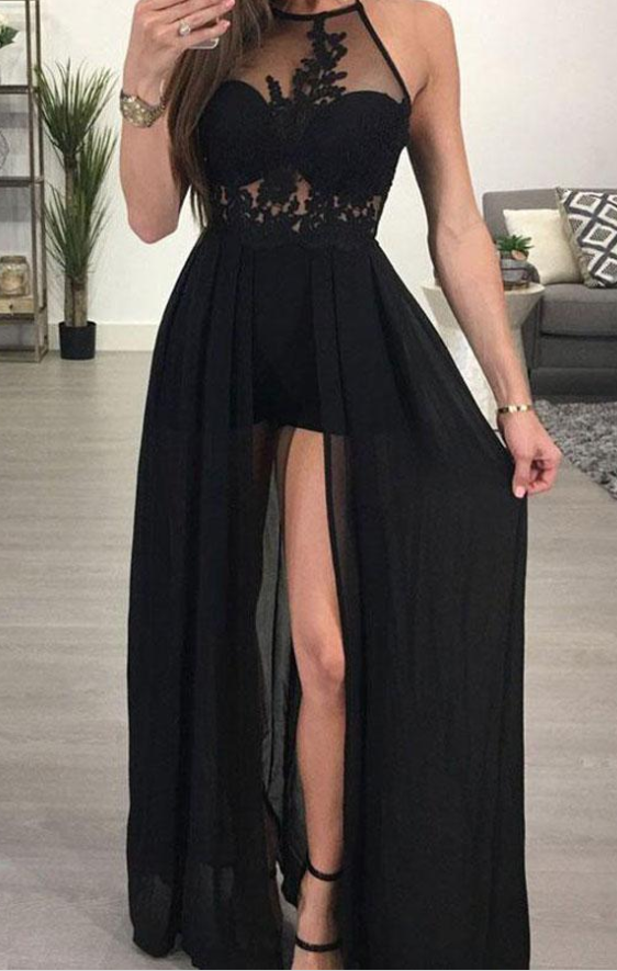 Black Chiffon A-line Halter See-through Sexy Long Prom Dresses