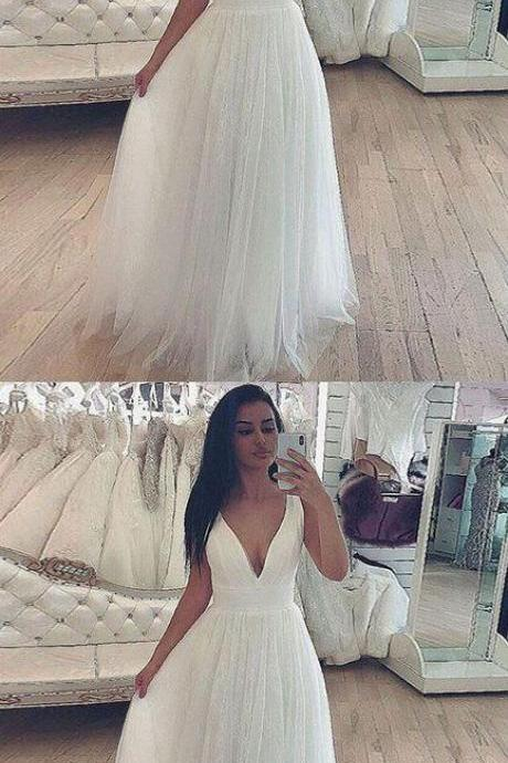 Simple v neck tulle white long prom dress, white evening dress