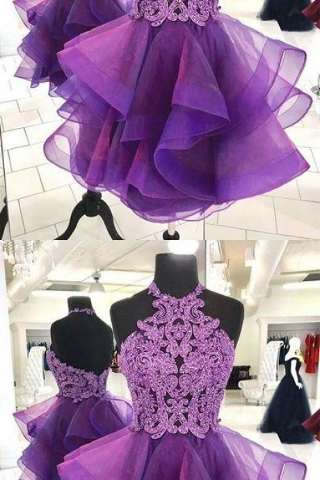 Cute purple tulle lace short prom dress, purple homecoming dress