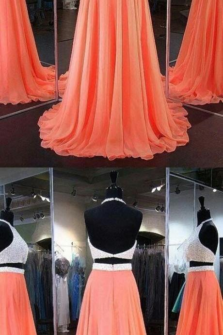 Two Piece Prom Dresses Halter A-line Beading Open Back Sparkly Long Prom Dress