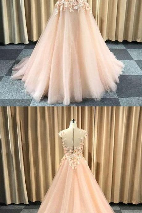 Pink round neck tulle lace applique long prom dress, evening dress