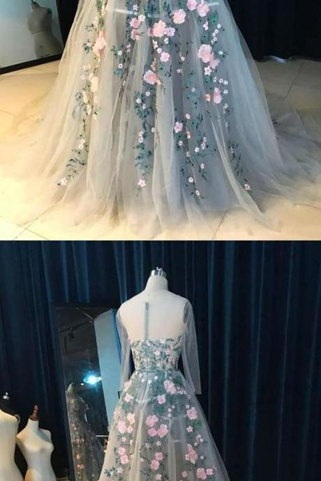 A-Line Round Neck Court Train Light Blue Tulle Prom Dress with Appliques