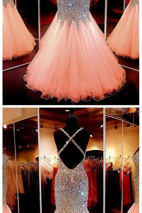 Mermaid See Through Prom Dress, Beaded Prom Dress, Sexy Prom Dress, Rhinestone Prom Dress, Long Prom Dress
