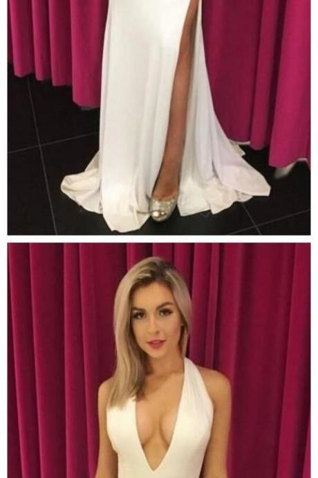 Sexy Long Prom Dress, Deep V Neck Prom Dress, White Split Slit Mermaid Prom Dresses, Long Evening Dress