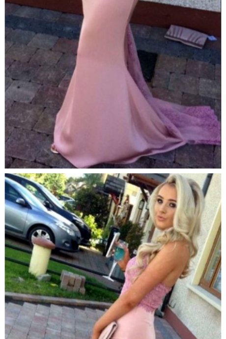 Pink Lace Halter Long Jersey Mermaid Prom Dresses Backless Evening Dresses Elegant Formal Prom Gowns