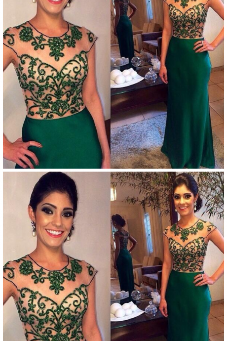 Emerald Green Prom Dresses Sheer Crew with Capped Sleeves Delicate Beading Bodice Zipper Back Floor Length Party Gown