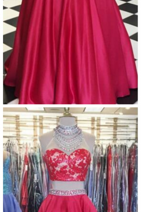 Cheap prom dresses ,Red Two Pieces Prom Dresses High Neck Sleeveless Beading,