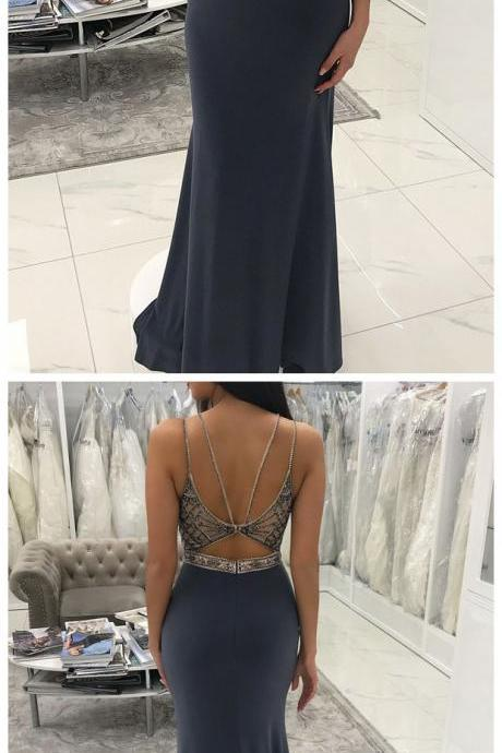 Beaded Long Mermaid Prom Dresses for Women Backless Evening Gowns