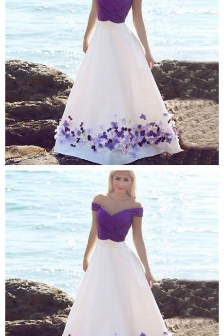 Purple Prom Gowns,Chiffon Party Dresses,Formal Prom Dresses With Handmade Flowers