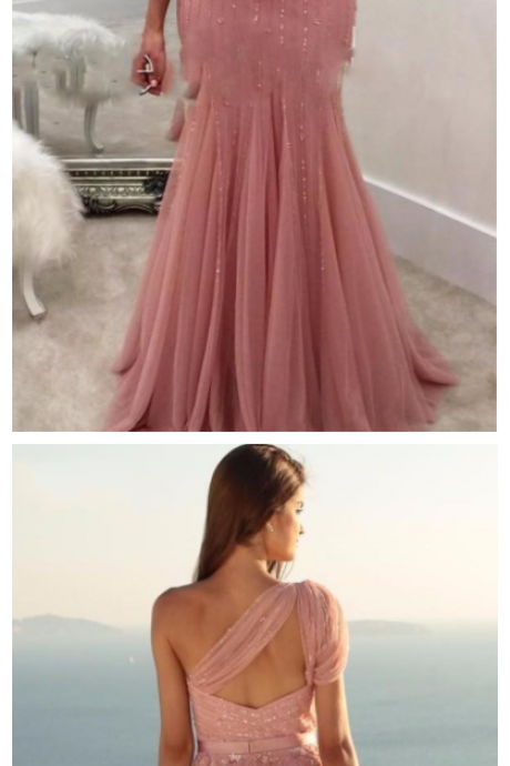 One Shoulder Blush Pink Mermaid Evening Dresses Sparkly Sequins Prom Party Dresses Open Back Formal Evening Gowns