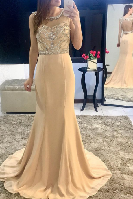 Beading Bodice Champagne Chiffon Mermaid Evening Dress Backless Prom Gowns