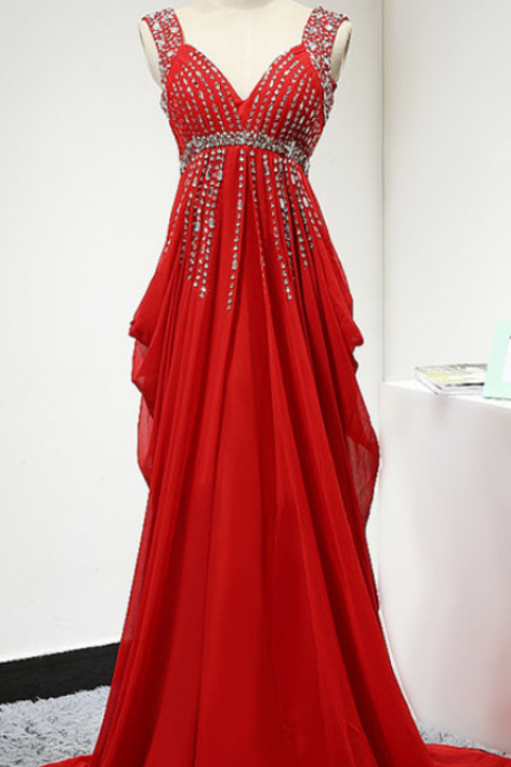 Red Backless Prom Dress,Long Elegant Chiffon Ruched Bridesmaid Dresses, Sexy V Neck Pleated Beaded Chiffon Women Evening Dresses