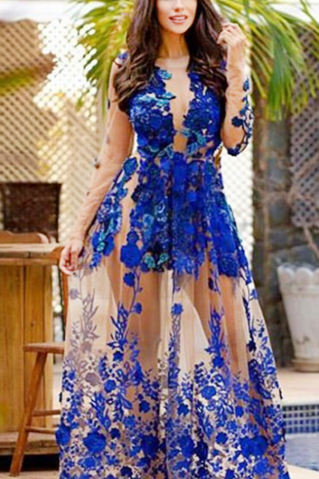 Royal Blue Long Sleeves Appliques Jewel Floor-length Prom Dress with Lace