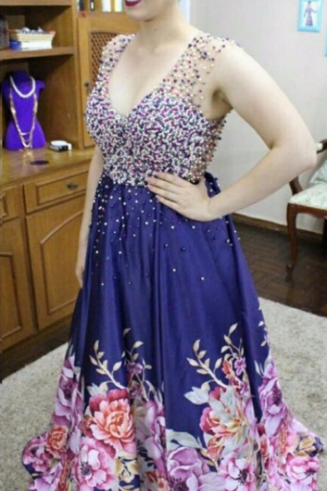 V- neck Colorful Beading Prom Dresses, Sexy Long Print Flower Hem Prom Dress, Iluusion Back Prom Dresses