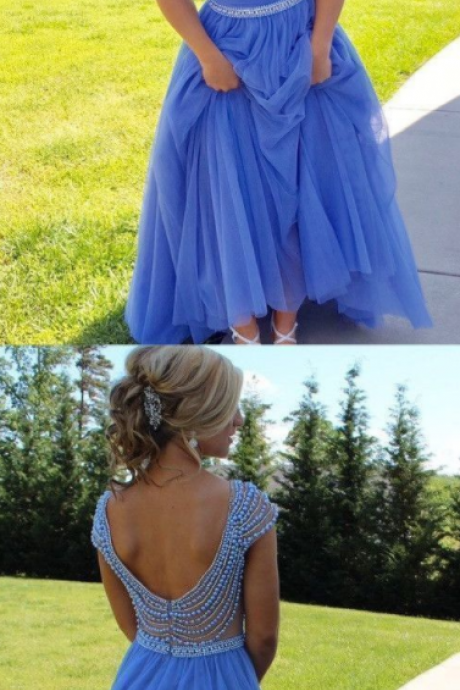 Sparkly A-line Scoop Backless Beaded Tulle Blue Prom Dresses Long Prom Dress