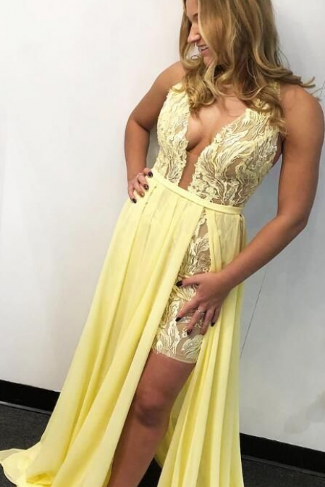 Deep V-Neck Lace Yellow Long Prom Dress with Slit