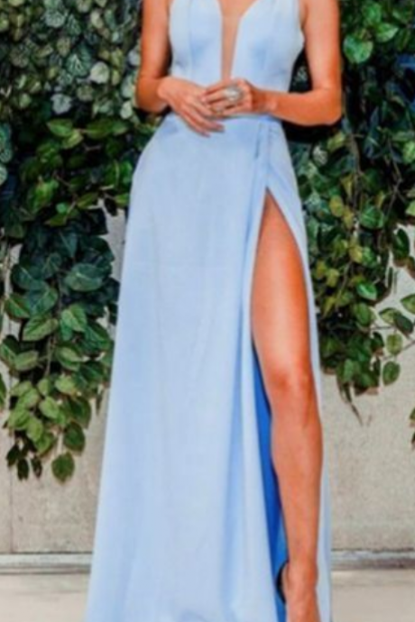 Modest V-neck Blue Sleeveless Prom Evening Dresses with Slit, Hottest Long Prom Party Dresses for Teens