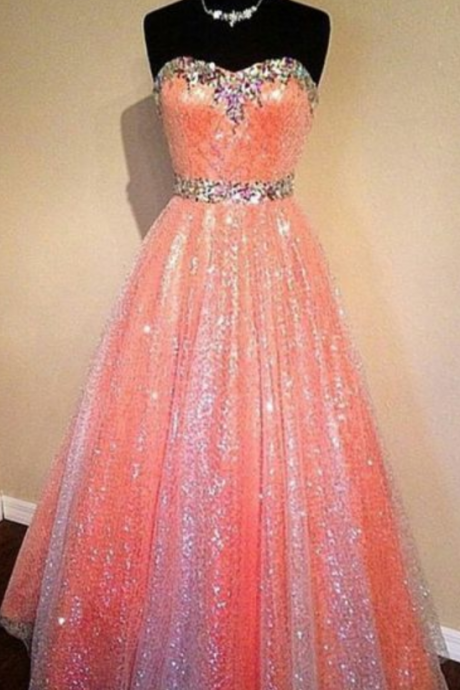 Sparkly beautiful long prom dresses, elegant pretty sexy sweetheart strapless long evening dresses