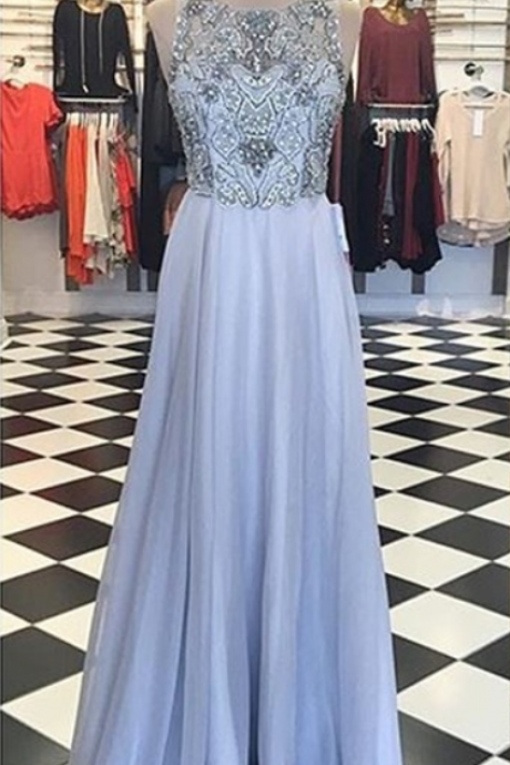Sexy Prom Dress,Chiffon Prom Dress,Elegant Beaded Evening Dress,Sleeveless Prom Dresses