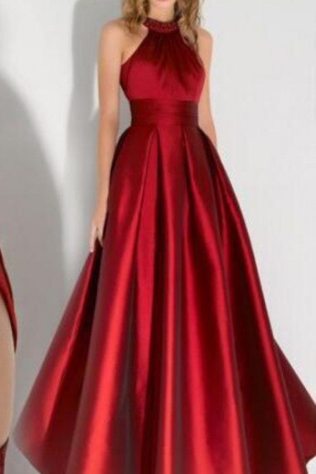 Red Halter prom dresses, A Line Prom Dress,Cheap Prom Dress,wedding party dresses, graduation party dresses,formal dresses