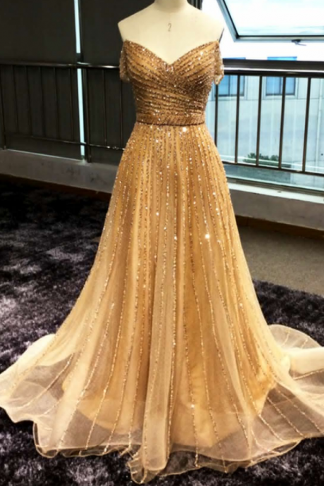 Shinny sequins off shoulder long sequins prom evening dress