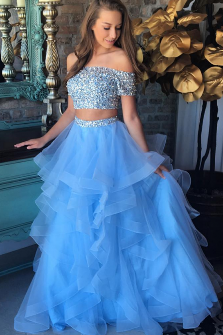 two piece prom dresses beaded boat neck blue tiered elegant prom gown vestido de festa de longo