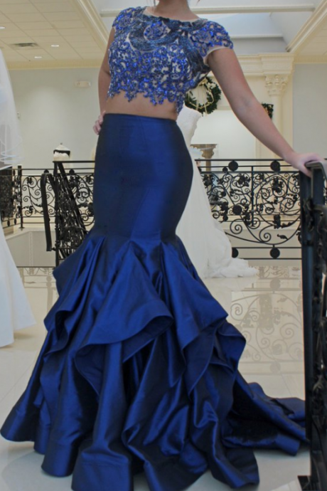 2 Piece Prom Dress, Royal Blue Prom Dress, Beaded Prom Dress, Short Sleeve Evening Dress, Lace Applique Evening Dress, Mermaid Evening Dress, Long Evening Dress,