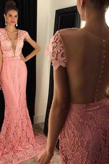 Cap Sleeve Peach Lace Mermaid Evening dress Sexy See Through Prom Dress, Custom Long Prom Dress, Cheap Party Prom Dress, Formal Prom Dress