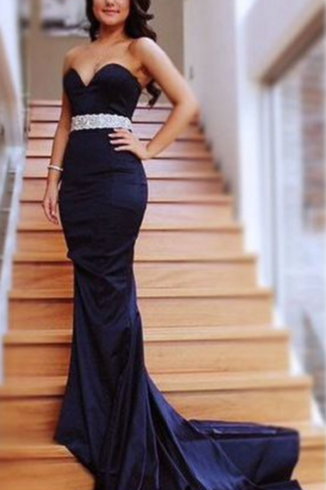 Charming Prom Dress, Sweethear Prom Dress, Mermaid Prom Dress, Long Evening dresses, with drailing