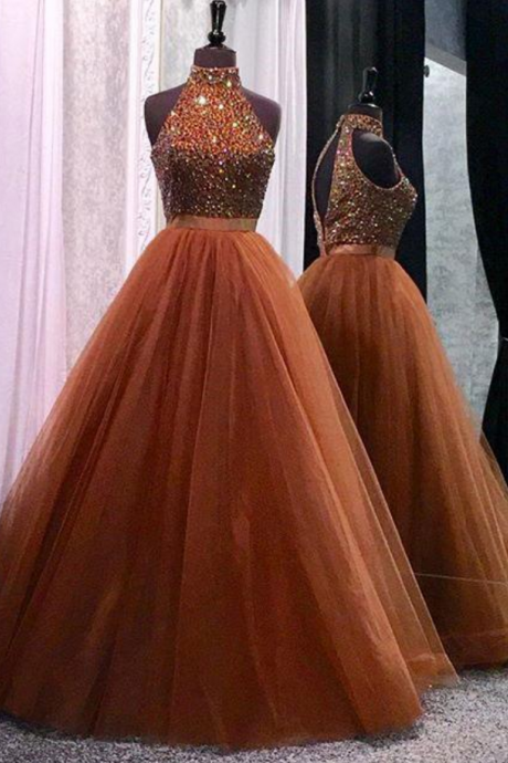 High neck prom dress, sexy prom dress,tulle and beading prom dress,a-line princess prom dress, high quality hand made prom dress,
