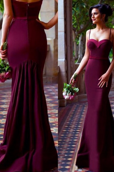 Burgundy Mermaid Prom Dress,Satin Evening Dresses,Sweetheart Sleeveless Prom Dress,Party Gowns Vestidos,Party Dresses, Evening Dresses