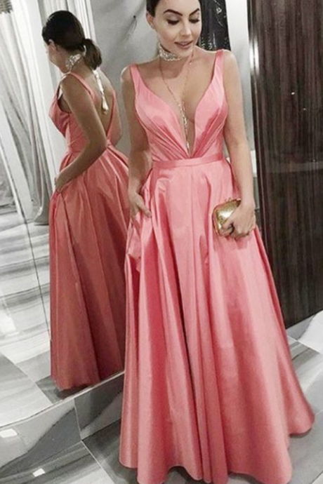 Simple Charming A-Line V-Neck Sleeveless Pink Satin Prom Dress with Pockets