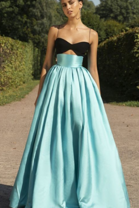 Light Green Satin Long Spaghetti Straps Prom Dress For Teens