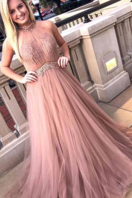 Elegant Halter Tulle Pink Prom Dress, Appliques Homecoming Dress, Long Evening Dress