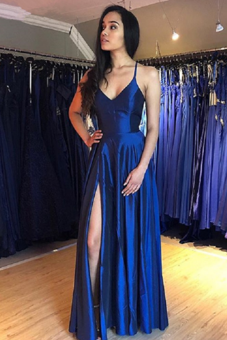 Simple Royal Blue Satin Long Prom Dress,Spaghetti Straps Evening Dress,Side Slit Party Dress